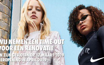 Nike Factory Store gesloten tot 18/04 voor renovatie